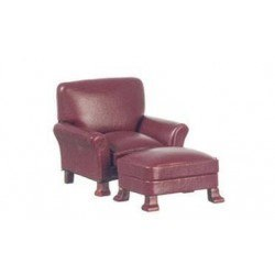 Leather Chair, Ottoman, Red, Mahogany