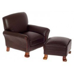 Leather Chair, Ottoman, Brown, Walnut