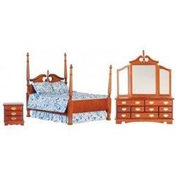 Victorian Double Bed Set, Walnut, 3pc