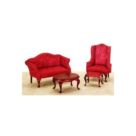 Queen Anne Living Room  Red  4pc