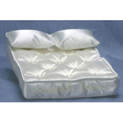 Mattress with Pillows & White Fabric