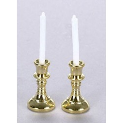 &AZG0172: BRASS CANDLESTICKS & CANDLES