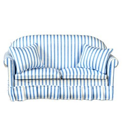 Blue & White Striped Sofa with Pillows