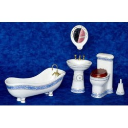 White & Blue Bath Set