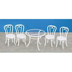 TABLE & CHAIR SET/5, WHITE