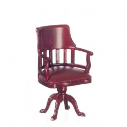 Burgundy & Mahogany Swivel Chair