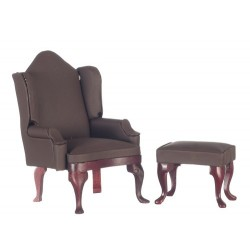 Brown Wing Chair with Ottoman