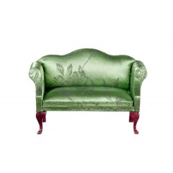 Green Brocade Queen Anne Loveseat