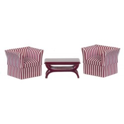 Mahogany Coffee Table with 2 Red/White Stripe Chairs
