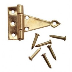 T-hinges, Brass 2pr W/24 Nails