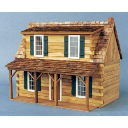 Finished 1 Inch Scale Adirondack Log Cabin Dollhouse Model
