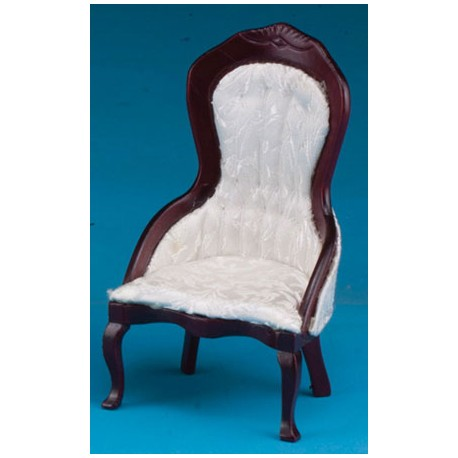 Ladies Chair, Mahogany with White Brocade Fabric