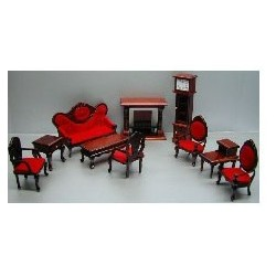10 PC LIVING ROOM-RED FABRIC
