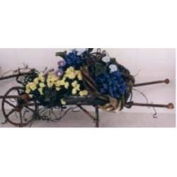WHEELBARROW/FLOWERS 5 X 2 3/4