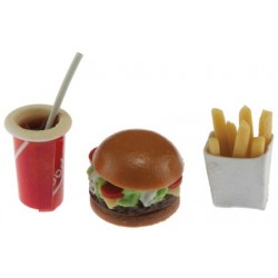 Hamburger, fries, drink