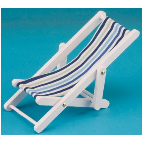 Beach Chair, Blue/White Fabric,