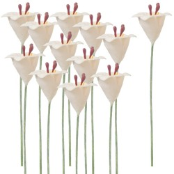 EASTER LILY STEMS-WHITE/SET OF 12