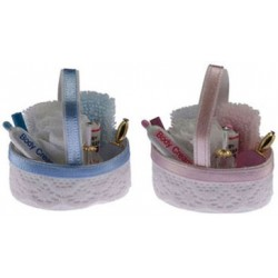 Bath Accessory Basket in Pink & Blue