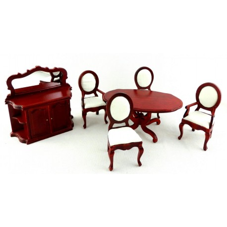Mahogany Dining Room Set 6pc | Dollhouse Dining Room Sets |