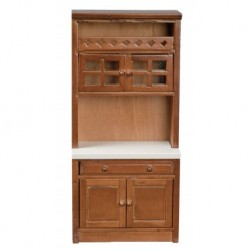 Walnut & White Cabinet With Shelves