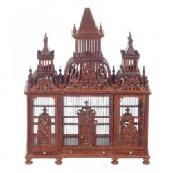 Victorian Birdcage With Birds Walnut