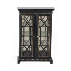Cabinet with Glass Doors Black & Gold