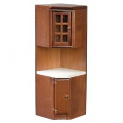 Corner Cabinet Walnut & White