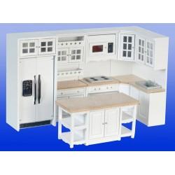 Kitchen Set 8pc White & Marble