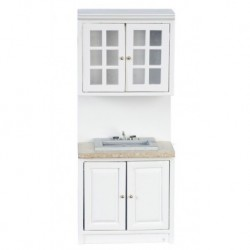 Cabinet with Sink White & Marble