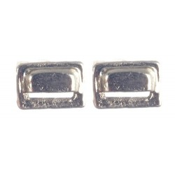 Square Drawer Pulls Silver 2pc