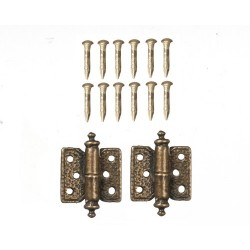 Hinges w/12 Pins Antique Brass 2pc