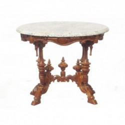 Pedestal Table Marble Top Walnut