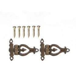 Hinges with 6 Pins Antique Brass 2pc