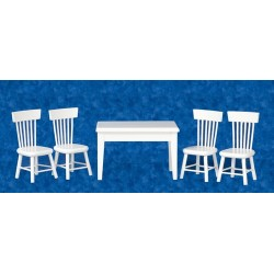 Table Chairs Set 5pc White