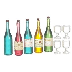 Wine & Champagne Bottles w/Glasses 9pc