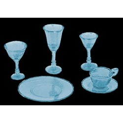 4 PLACE BLUE DISHES/STEMWARE, KIT