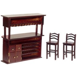 Bar Set 3pc Mahogany