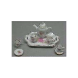 8 PC TEA SET-PINK FLOWERS