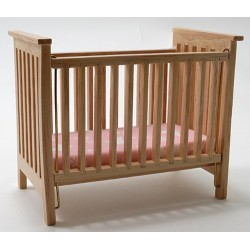 Slatted Nursery Crib, Oak with Pink Fabric