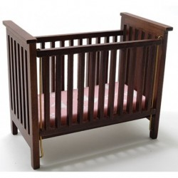 Slatted Nursery Crib, Walnut with Pink Fabric