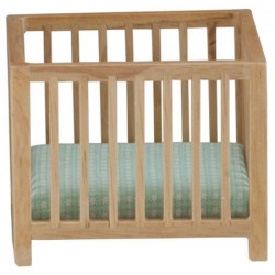 Slatted Play Pen, Oak with Blue Pattern Fabric
