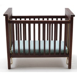 Slatted Nursery Crib, Walnut with Blue Pattern Fabric