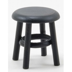 Miniature Stool, Distressed Black, 1-1/2 Inch