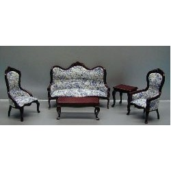 5PC WALNUT LV.RM-BLUE TOILE