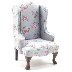Chair, Walnut with Gray Floral Fabric