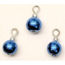 Royal Blue Pearl Ornaments, 3pc