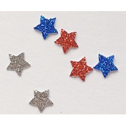 Red, Silver, Blue Stars Approx 50