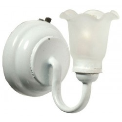 LED White Sconce Frosted Flute Shade