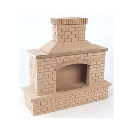 Wood Brick Outdoor Fireplace